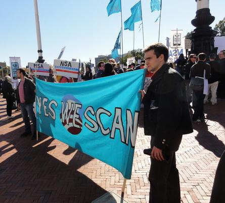Protesters call for an end to NSA mass surveillance