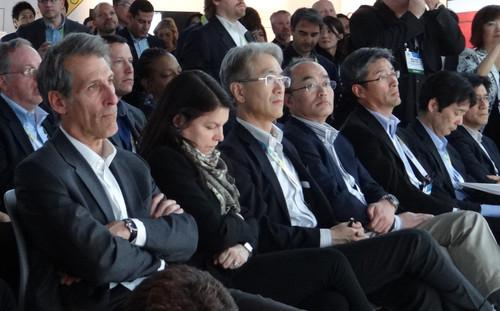 Michael Lynton (far left), president of Sony Pictures, watches Sony CEO Kaz Hirai speak about the hack of Sony Pictures during an event at CES 2015 in Las Vegas on January 5, 2015