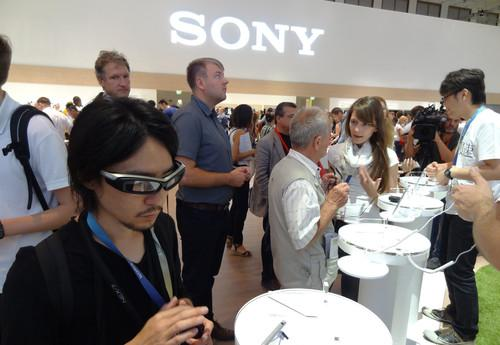 A second-generation prototype of Sony's SmartEyeglasses on show at IFA in Berlin on September 5, 2014