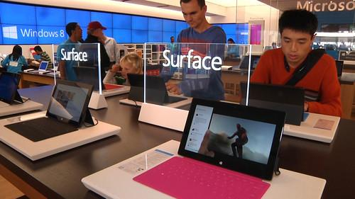 Microsoft's Surface tablet at the Microsoft Store in Palo Alto on October 26, 2012.