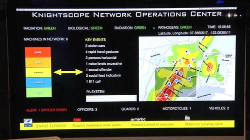 The Knightscope control center adds social media and other monitoring to input from the K5 robot.