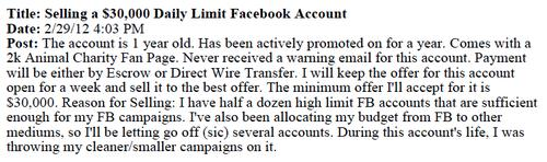 A forum posting, reproduced in a Facebook lawsuit, advertises a Facebook advertising account for sale