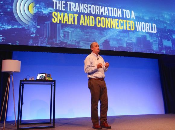 Brian Krzanich, CEO of Intel, speaks in San Francisco on Nov. 3, 2015. Credit: James Niccolai