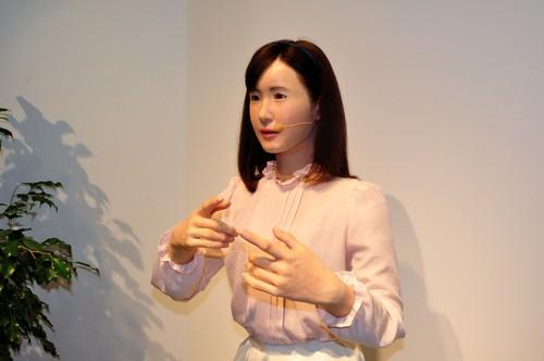A female android developed by Toshiba demonstrates its sign-language abilities at Ceatec 2014 outside Tokyo on Tuesday.