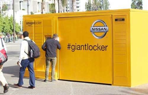 Amazon's large locker in San Francisco is part of an ad campaign with Nissan.