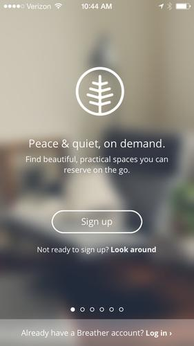 Breather's log-in screen on the iPhone.