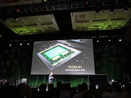 Nvidia CEO Jen-Hsun Huang unveils the Tegra K1 at CES Sunday evening