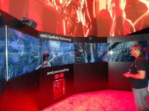 AMD's new 5 GHz processor is being demonstrated at E3 in Los Angeles. It's playing game footage on five high definition monitors with a total resolution of 9600 by 1080 pixels.