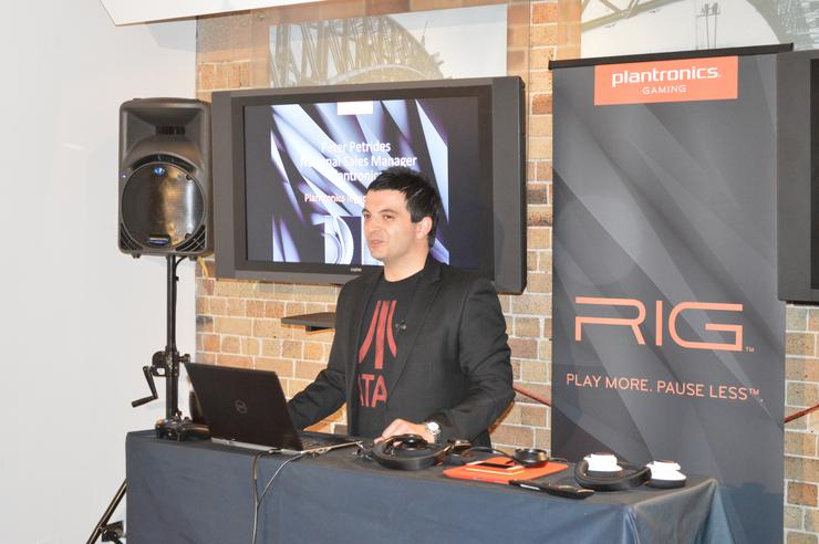Plantronics A/NZ gaming director, Peter Petrides, announces RIG in Sydney