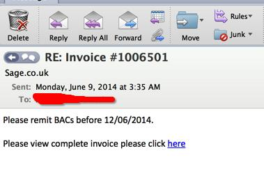 A powerful new type of banking malware called Dyre or Dyreza is being distributed through spam messages containing malicious links to a supposed invoice.