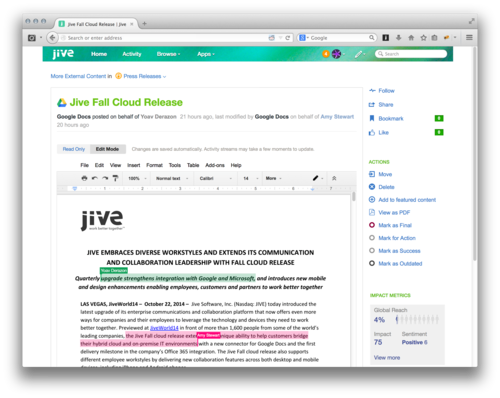 The new Connector for Google Docs lets users create, call up, co-edit and add comments to Docs, Sheets and Slides files from within the Jive suite's interface