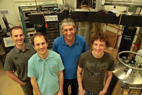 Physicists at UC Santa Barbara, including John Martinis, second from right, will work with Google to build quantum processors