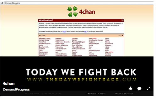 The website 4chan.org displays a banner advertisement promoting Tuesday's surveillance protest The Day We Fight Back.