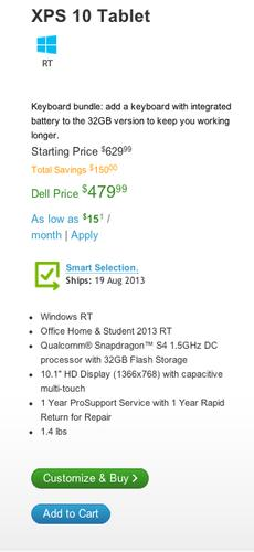 By Friday evening the cheapest Windows RT tablet listed on Dell's website was a bundle for $479.