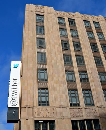 Twitter's sign at its headquarters on Market Street in San Francisco