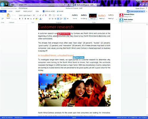 Microsoft has added real-time co-editing to Office Web Apps, including Word