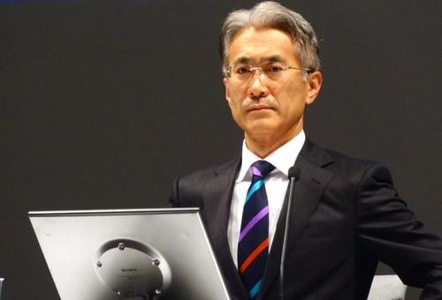 Sony CFO Kenichiro Yoshida addresses an earnings meeting Thursday in Tokyo.