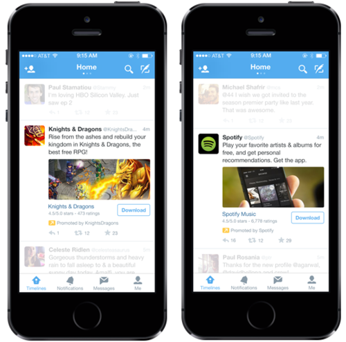 Twitter will start promoting apps in timelines.