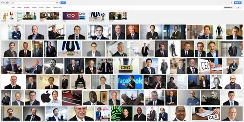 "Searching ""CEO"" in Google Image Search produces a sea of male faces and one woman (at bottom, center): CEO Barbie"