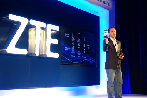 ZTE executive Jeff Yee holds up the ZTE Grand Max X Plus.
