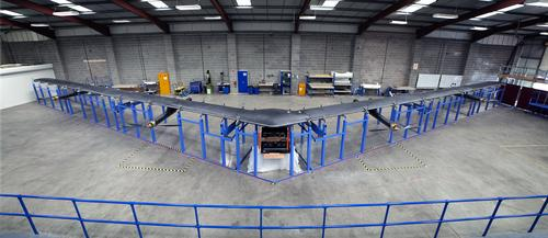 Facebook's Aquila, pictured July 30, 2015, is an unmanned aircraft designed to beam Internet access to people in underserved parts of the world. It has a wingspan of 140 feet.