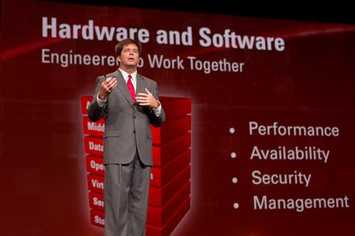 John Fowler, head of Oracle's systems business, at Oracle OpenWorld in September 2010