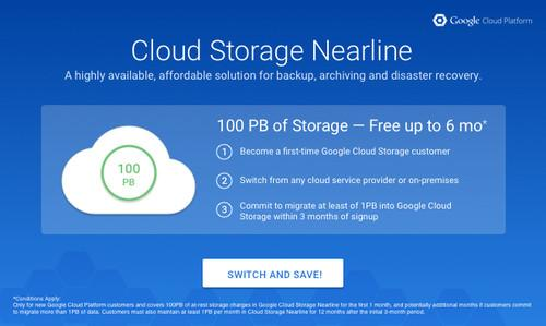 "Google's ""switch and save"" program for Cloud Storage Nearline."