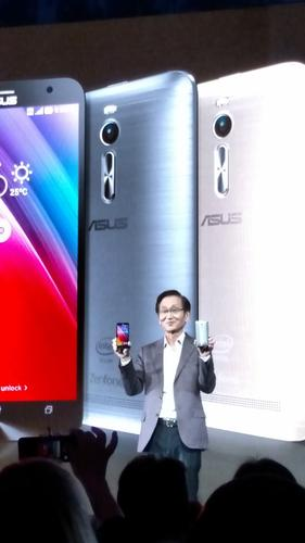Asus chairman Jonney Shih shows Zenfone 2 at New York event