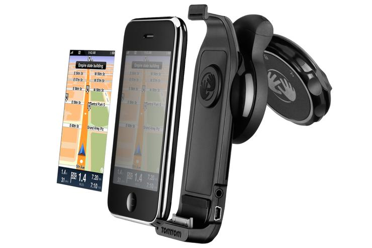 TomTom for iPhone consists of two parts — the TomTom for iPhone software app, which will be downloadable from the iPhone store, and TomTom's dedicated iPhone cradle, providing a safe mounting system in the car. It is not yet confirmed whether the TomTom for iPhone app will work without the cradle.