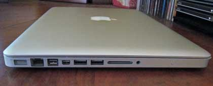 A side shot showing the ports on the 13-in. MacBook Pro, including the SD card slot on the right, next to the headphone jack.