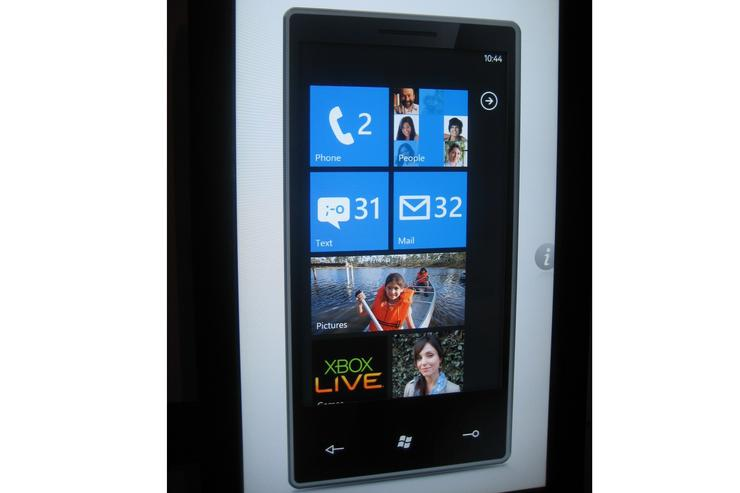 The home screen of Windows phone Series 7
