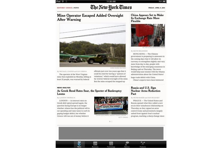 The New York Times iPad app.