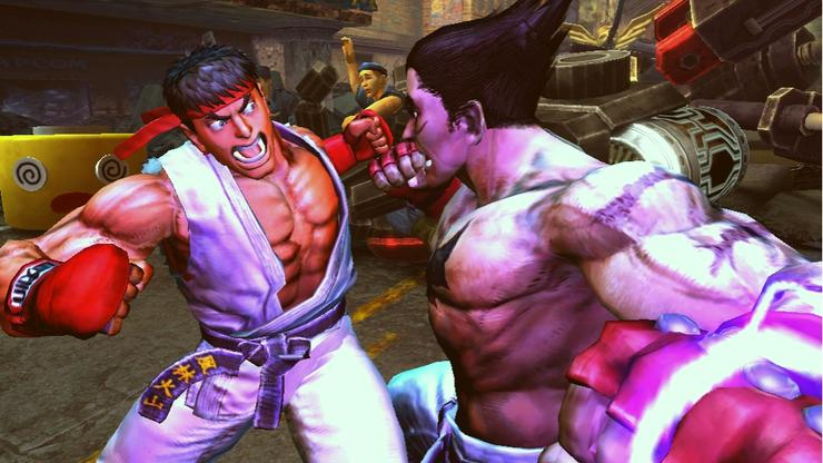 Ryu and Kazuya face off in Street Fighter vs. Tekken