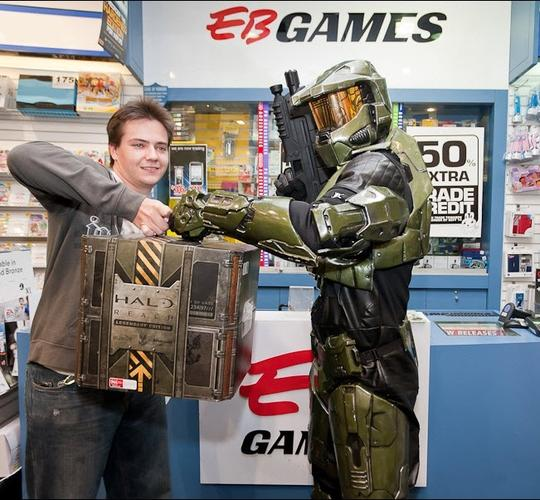 Pictured: The first customer at Halo Reach's midnight Sydney launch.