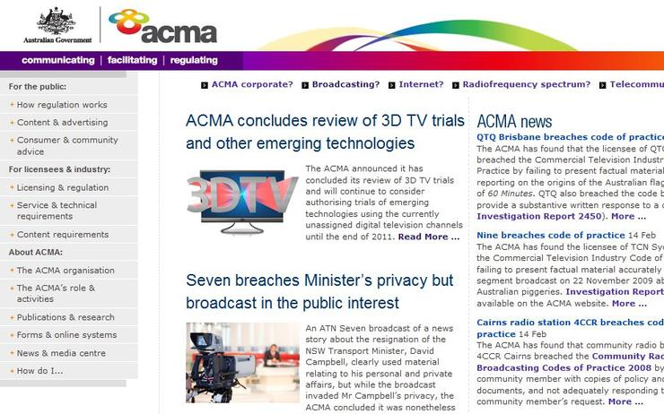 The ACMA Web site.