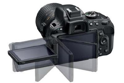 The Nikon D5100 has a hinged screen that's mounted on the left side, rather than the bottom of the camera.