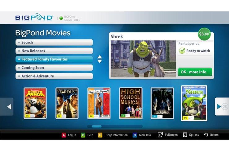 The user interface for Samsung's BigPond Movies on Demand service.