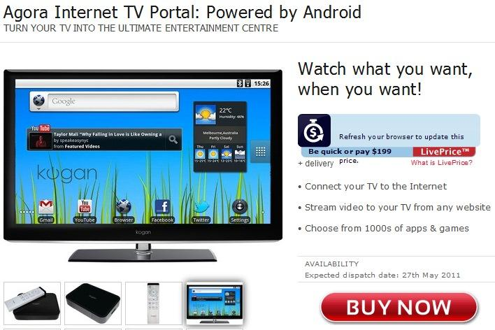 The Android-based Agora Internet TV Portal as seen on Kogan's Web site.