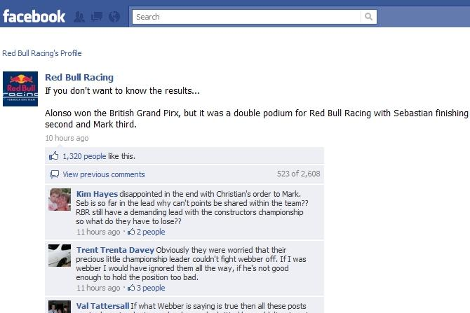The Red Bull Racing team's Facebook fan page.