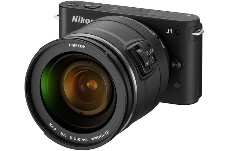 The Nikon 1 J1 with a 10-100mm f3.5-5.6 VR lens.