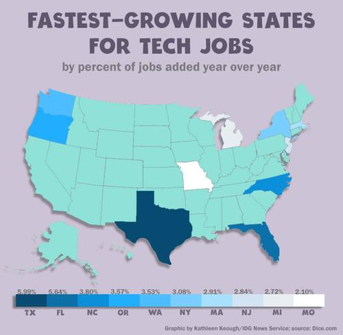 IT professionals looking for a job should consider positions in some states that aren't seen as technology hot spots.