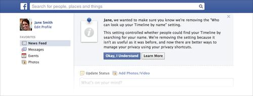 "Facebook's reminder it will remove the ""Who can look up your Timeline by name' setting"
