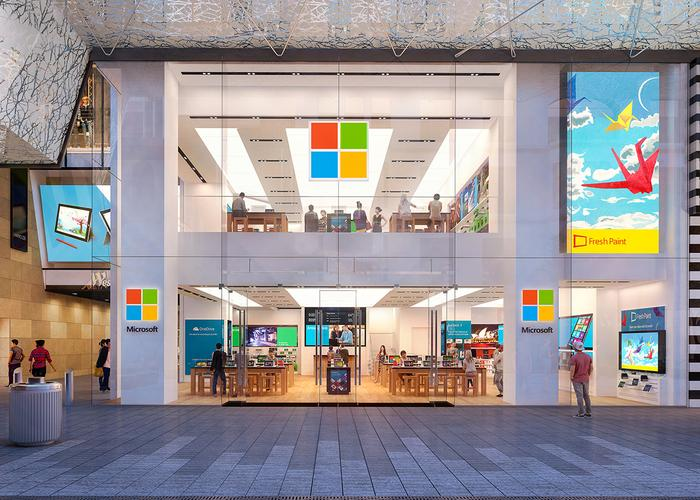 An artist's render of the new Microsoft flagship store due to open on November 12 in Sydney
