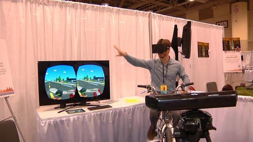 Researchers at the Computer Human Interaction conference have combined an Oculus Rift, Kinect and a video game from the 80s to immerse gamers in a virtual world.