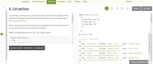 Ractive.js comes with a set of tutorials aimed to get JavaScript novices who to use the library