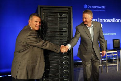 IBM's Tom Rosamilia (left) and Doug Balog unveil IBM's Power8 servers in San Francisco on Wednesday