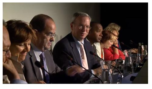 Google executive chairman Eric Schmidt (center) and Google legal office David Drummond (right of Schmidt) during the Madrid Right to be Forgotten meeting