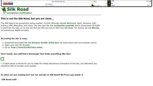 The marketing site for Silk Road, silkroadmarket.org, circa March 4, 2011, as captured by Archive.org