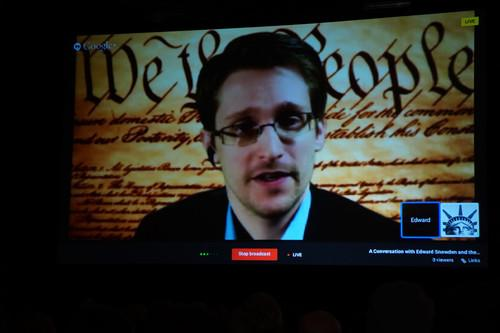 Edward Snowden appeared at South By Southwest Monday via Google Hangouts—and seven proxies—to encourage the people who create devices and software to make user security a priority.