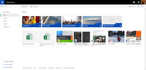 OneDrive's web user interface